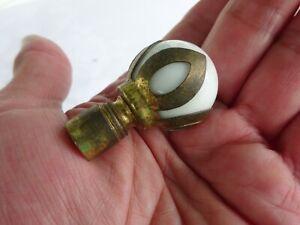 VINTAGE ANTIQUE WHITE GLASS BALL LAMP FINIAL BRASS PETAL METAL