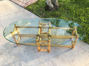 Vintage Mid Century McGuire Style Bamboo Leather Wrap Coffee Table Oval Glass