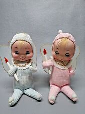 """2 Japan Jestla Pink Blue Baby Angels cloth ornaments with candles 6"""" tall"""