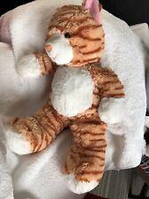"Soft Plush Orange Striped TIGER CAT Brown Eyes Pink Hard Nose Secret Pocket 15"""