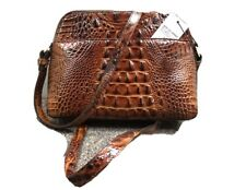 New Brahmin Embossed Leather Mini Sydney Pecan Melbourne Shoulder Crossbody