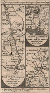 Wallingford-Wantage. Islington-Muswell Hill road strip map PATERSON 1803