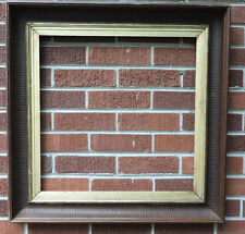 Antique RARE Walnut & Gold Gilded Liner SQUARE Fluted Frame 20 x 20 c1870-80s