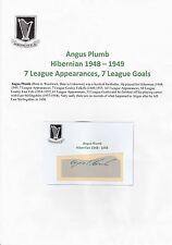 Angus Plumb Hibernian (1948-1949) Muy Raro Original Firmada A Mano cutting/card