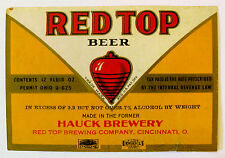 IRTP Red Top Brewing (formerly Hauck) RED TOP  BEER label OH 12oz  ABW 3.2-7%