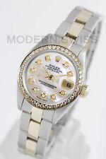 Rolex Ladies Datejust Gold Steel White MOP Diamond Dial & Bezel Oyster 2Tone 2YR