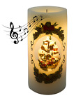 Flameless LED Lighted Candle Village Scenery Musical Motorized Reindeer Sleigh