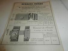 Tarif PARISE SERRURE E. SCHMIDT FEUQUIERES en VIMEU 1924