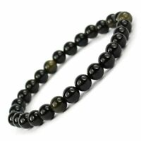 Black Obsidian Bracelet 6mm Beads for Reiki Healing Crystal Healing Stone