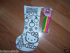 """HELLO KITTY Color Your Own 11"""" Stocking With Markers Christmas Holiday Tree"""