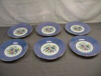 "Lot of 6 Noritake  Salad Plates Blue Luster Border 6 1/4"" Diameter VGC"
