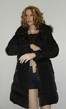 MICHAEL KORS HOODED FAUX-FUR-TRIM QUILTED BELTED PUFFER JACKET COAT AUTHENTIC