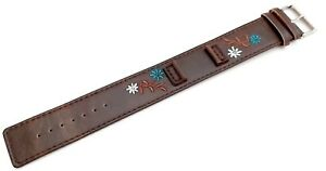 KAHUNA WOMENS HIGHLY DURABLE BROWN FLOWER PATTERN PU CUFF STYLE WATCH STRAP