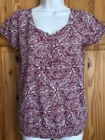 LUCKY BRAND Womens Ladies Red Maroon Cream Cotton T-shirt Girl Top Blouse UK S