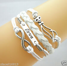 Lovely Infinity/Love/Cat Charms Leather Braided Bracelet- Color White
