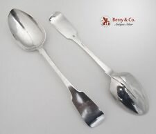 American Coin Silver 2 Table Spoons Celeb Shields 18th Century
