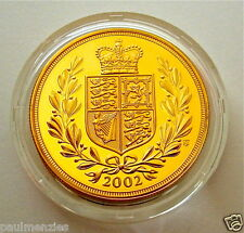 2002 ROYAL MINT GOLDEN JUBILEE SHIELD GOLD PROOF FULL SOVEREIGN COIN BOX COA