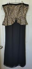 CITY CHIC Peplum Sequins Evening Formal Strapless Dress Black Gold Size M 16 18