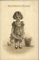 Easter - Little Girl w/ Rabbits Gottschalk Dreyfuss & Davis c1910 Postcard