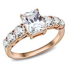 Rose gold ring ladies emerald cut round cz cubic zirconia 4ct steel promise 3517