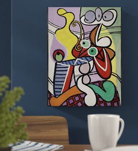 Great Still Life on Pedestal by Pablo Picasso Painting Print on Wrapped Canvas
