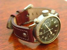 Hanhart Tutima 20 mm Aviator Watch Strap Dark Chestnut Brown Leather Buckle