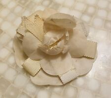 """Lovely VINTAGE CHANEL FRENCH CAMELLIA 4"""" FLOWER BROOCH/PIN Ivory Silk & Ribbon"""