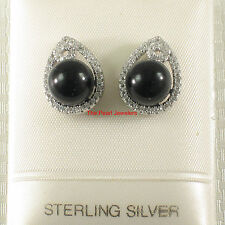 Onyx & Cubic Zirconia Stud Earrings Tpj Solid Sterling Silver 925 Set 10mm Black