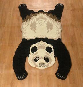Hand Tufted Panda Skin Wool Carpet Cotton Backing Rug Home Decor & Gift 2x3 Feet