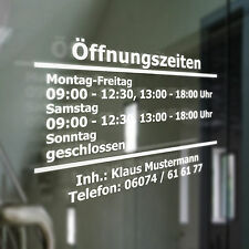 Öffnungszeiten o. Rahmen Geschäftszeiten Inhaber Aufkleber Schaufenster Schild