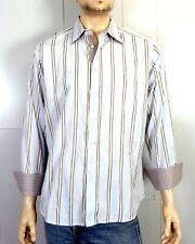 euc Robert Graham Striped Paisley Flip Cuff Wavy Design Dress Shirt club SZ L