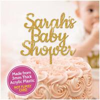 PERSONALISED Baby Shower Cake Topper Glitter Acrylic Baby Shower Cake Decoration