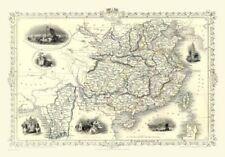 Country Map of China & Burma By John Tallis Circa 1851