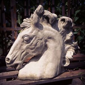 Garden Horse Head Statue Large Ornate Grey Stone Horse Head Bust Sculpture