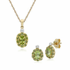 9CT Peridoto y Oro Amarillo Diamante Ovalada Broche Pendiente 45cm Collar Set