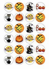 24 x HALLOWEEN Wafer Rice Paper Cupcake Toppers EDIBLE CAKE DECORATIONS