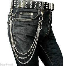 3 reihige Hosenkette Bikerkette Mode Schlüsselkette Gürtel Kette Chain Karabiner