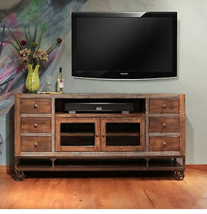 Crafters and Weavers Greenview 76 inch TV stand Media Console on wheels