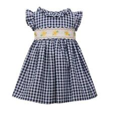 Bonnie Jean Navy Gingham Spring Dress with Daisy Flower Smocking