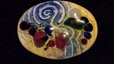 Magnífico diseño de metal esmalte vítreo Artesanal Abstracto Oval Broche/Pin ***