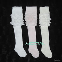 SOFT TOUCH BABY GIRL FRILLY  BUM TIGHTS-NEWBORN/2 YEARS-WHITE/CREAM/PINK - NEW