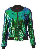 Ladies Evening Two Tone Green Sequin CAMO PLAIN Bomber Jacket UK Size 8-14