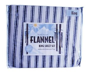 Bed Bath & Beyond 100% Cotton 4 Piece King Sheet Set Flannel Ultra Soft And Cozy