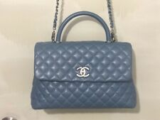 CHANEL COCO HANDLE Blue Caviar Leather, used in excellent condition