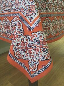 "Anokhi Orange & Blue Cotton Tablecloth, 70""x108"""