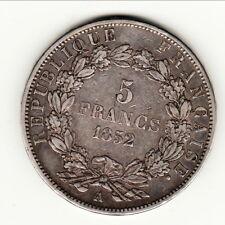 SEULE MONNAIE 5FR Nom LOUIS NAPOLEON BONAPARTE 1852 A TTB