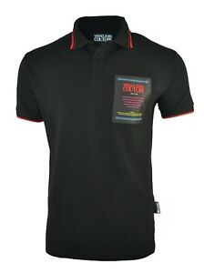 VERSACE JEANS COUTURE BLACK RED ETICHETTA PATCH POLO SHIRT CHEST LOGO