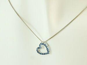 585 Weissgold Herz mit Goldkette Anhaenger Saphir in Geschenkbox 14 Karat