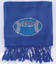 "Blue Football Bling Pashmina Scarves (28""W x 75-1/4""L) Brand New  #S108"
