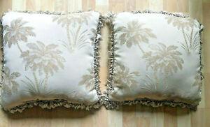 Croscill Martinique Tassel PAIR Throw Pillows Tropical Palm Tree Damask Square